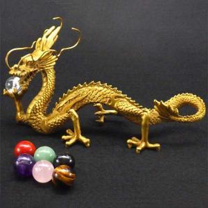 願い龍(大)龍の置物 皇帝の五爪龍 選べるドラゴン ボール1個付 風水 開運 銅製|kouyuu