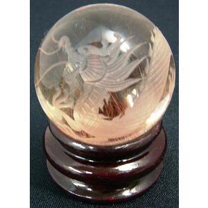 パワーストーン 天然石 原石 龍彫 レッドルチルクォーツ 球 117g 龍の置物 風水 開運|kouyuu
