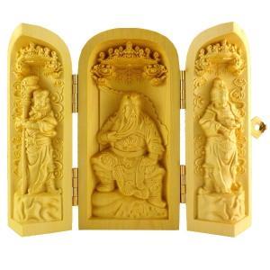 風水グッズ つげ 関聖帝君 三尊 厨子 風水 関羽像 縁起物 置物 飾り物 開運祈願