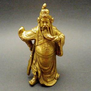 風水 ミニ関羽公 商売の神様 開運 グッズ インテリア 銅製 置物 kouyuu