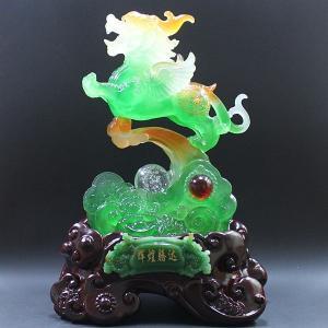瑠璃(るり) 流水 招財 貔貅(ヒキュウ)龍珠 風水 開運 グッズ インテリア 置物 噴水 緑 kouyuu