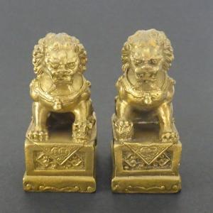 銅製 ミニ唐獅子(一対) 風水 開運 グッズ インテリア 置物|kouyuu