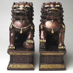 赤銅 北京獅子(一対) 風水 開運 グッズ インテリア 置物|kouyuu