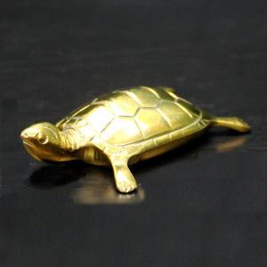 銅製 金彩亀(ミニ)風水 開運 グッズ インテリア 置物 金色|kouyuu