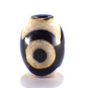 三眼天珠(中)黒 1個 パーツ 天然石 パワーストーン 風水 開運 グッズ 材料 ビーズ|kouyuu