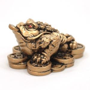 風水グッズ 樹脂製 金銭蛙(ミニ)カエル 置物 三本脚 金運 財運 風水 開運 グッズ インテリア|kouyuu