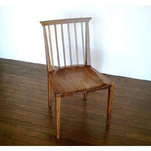 チェアー ダイニングチェアー 椅子 イス Iライン ウォールナット無垢板チェア 座面無垢板削りだし|kowbowmokumoku