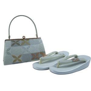 草履バッグセット 夏・洒落用 帯地 絽 草履バッグセット フリーサイズ 37-68 白系|koyuki
