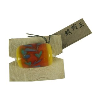 帯留め トンボ玉 お洒落 蜻蛉玉 帯飾りに 黄系  ゆうメール可|koyuki