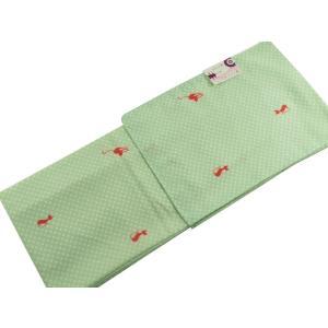 袷きもの 京のちたる 袷 小紋 着物 Lサイズ bk-33 薄緑ネコ柄|koyuki