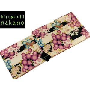 ssi ナカノヒロミチ 袷あわせ 着物 洗えるきもの 小紋  M Lサイズ nk-82 薄ベージュ 縞 桜 梅|koyuki