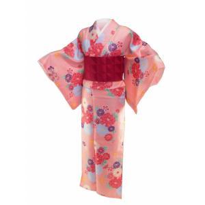 香乃逢 袷 小紋 着物と細帯 2点セット M・Lサイズ 橙系 ps-2|koyuki