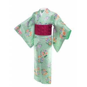 香乃逢 袷 小紋 着物と細帯 2点セット M・Lサイズ 淡緑系 ps-3|koyuki