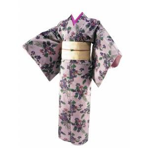 マルヤマ ケイタ 正絹 袷 小紋 着物 単品 フリーサイズ sk-19 渋藤色 koyuki