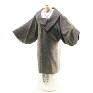 防寒用 ウール混 ロールカラー 和装コート ロングコート フリーサイズ co-2 ブラック|koyuki