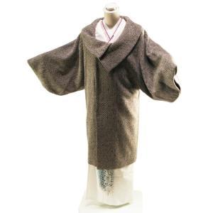 防寒用 ウール混 ロールカラー 和装コート ロングコート フリーサイズ co-3 ダークブラウン|koyuki