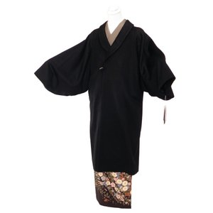 防寒用 カシミヤ へちま衿 和装コート ロングコート フリーサイズ co-4 ブラック|koyuki