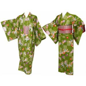 香乃逢 お洒落 長羽織 袷小紋 市松笹柄 黄緑 co-21|koyuki