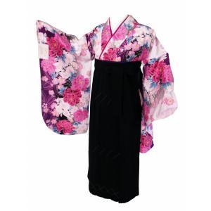 二尺袖 白と紫系 着物 袴 セット フリーサイズ 袴は無地 黒色 haki-28-G koyuki