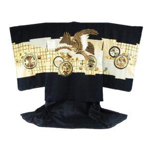 男児着物 アンサンブル3点セット 羽織・着物・襦袢 5歳用 7 茶の鷹 織柄入り 紺地|koyuki