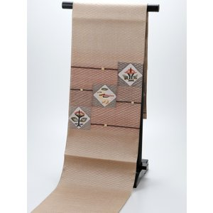 正絹 お仕立て上がり お洒落 夏用 袋帯 na-5 ブラウン系|koyuki