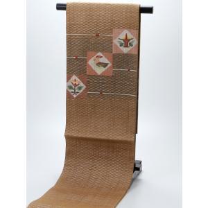 正絹 お仕立て上がり お洒落 夏用 袋帯 na-28 カーキ系|koyuki