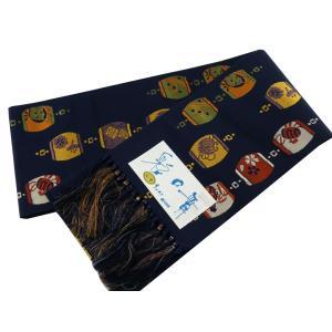 博多小袋帯 博多帯 伝統工芸 お洒落用 細帯 小袋帯 L寸 紺系 hy-34|koyuki