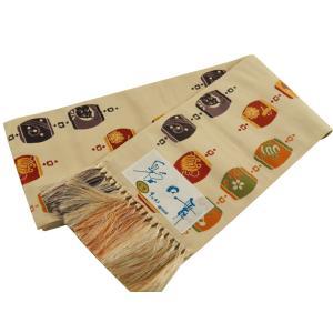 博多小袋帯 博多帯 伝統工芸 お洒落用 細帯 小袋帯 L寸 淡茶系 hy-35|koyuki
