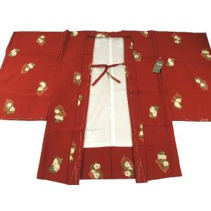 撫松庵 ブランド 7歳用 羽織 赤茶系 レトロ柄|koyuki