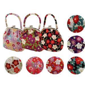ちりめん ハンドバッグ がま口バッグ 和柄 日本製 全3柄 ti-466
