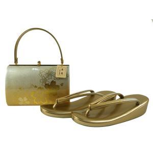 3Lサイズ 礼装用 本革 金彩加工 草履バッグセット sr-37 金銀|koyuki