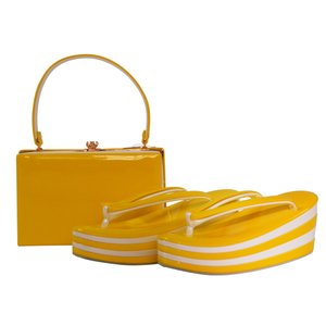 adi 振袖用 エナメル艶あり 4段かかと8cm 草履バッグセット フリーサイズ 黄 sr-282|koyuki