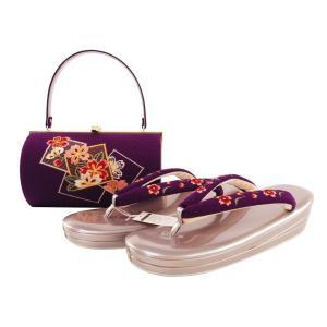 振袖用 ちりめん生地使用 刺繍入り 草履バッグセット 3Lサイズ 紫系 sr-333|koyuki