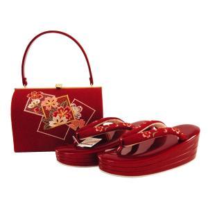 振袖用 ちりめん生地使用 刺繍入り 草履バッグセット S・3Lサイズ 赤系 sr-334|koyuki