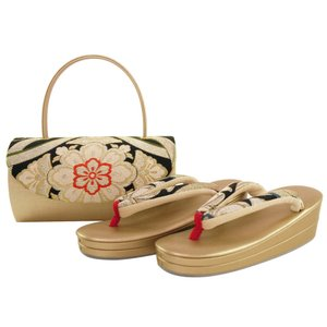 振袖用 帯地使用 金刺繍入り 草履バッグセット Sサイズ sr-337|koyuki