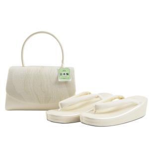 夏 洒落用 正絹 絽 草履バッグセット 日本製 フリーサイズ ss-325 白系|koyuki