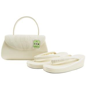 夏 洒落用 正絹 絽 草履バッグセット 日本製 フリーサイズ ss-326 白系|koyuki