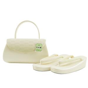 夏 洒落用 正絹 絽 草履バッグセット 日本製 フリーサイズ ss-327 白系|koyuki