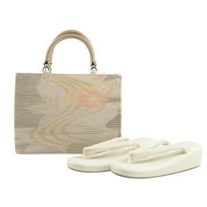 夏 洒落用 正絹帯地 低反発 帆布 草履バッグセット 日本製 フリーサイズ ss-329|koyuki