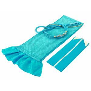 振袖用 正絹 四ッ巻絞り 帯揚げ・帯締め・重ね衿 3点セット 青 h-359|koyuki