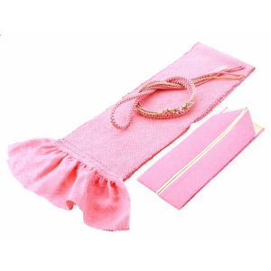 振袖用 正絹 四ッ巻絞り 帯揚げ・帯締め・重ね衿 3点セット 桃 h-360|koyuki