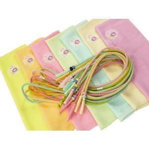 夏用 正絹 絽 刺繍入り 帯揚げ 小田巻飾り付き 帯締め 2点セット 全7色 na-487|koyuki