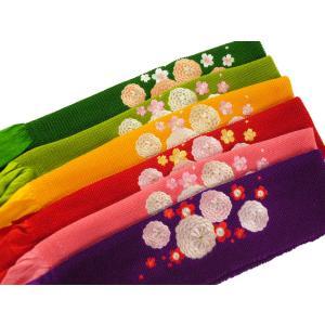 振袖用 万寿菊 刺繍 正絹 四ッ巻 絞り 帯揚げ 全6色 ah-93
