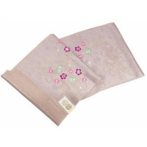丹後ちりめん 振袖用 正絹 さくら 刺繍入り ラメ入り 帯揚げ 灰紫 ah-111|koyuki