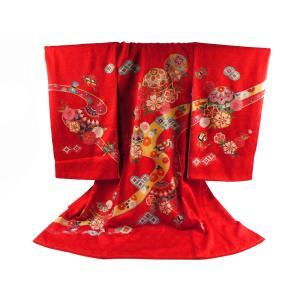 花ひめ お宮参り 着物 正絹 長襦袢 セット 女児 女の子 子供 産着 祝着 金駒刺繍入り 送料無料 un-13 赤|koyuki