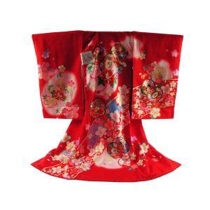 お宮参り 着物 正絹 長襦袢 セット 女児 女の子 子供 産着 祝着 金加工入り 送料無料 un-28 赤|koyuki