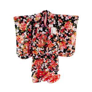 七五三着物 3歳女の子 被布コートセット 7点セット 化粧箱入り 黒着物 fk-33|koyuki