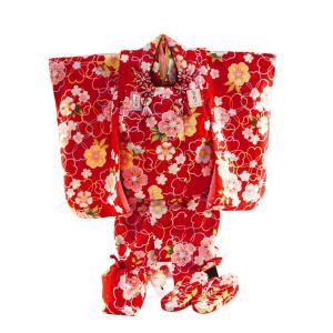 七五三着物 3歳女の子 被布コートセット 日本製 7点セット 化粧箱入り 赤着物 fk-38|koyuki