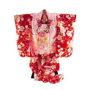 七五三着物 3歳女の子 被布コートセット 日本製 7点セット 化粧箱入り 赤着物 fk-39|koyuki
