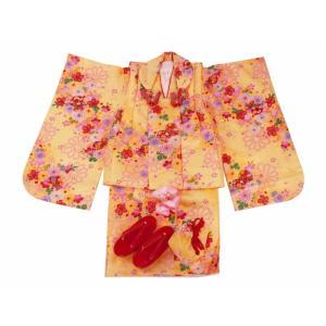 七五三 3歳女の子 総柄 着物 7点セット 被布コートセット イエロー fk-52|koyuki